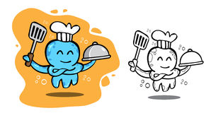 Logo sea food octopus chef. Cartoon Stock Photo