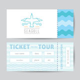 Logo of seagull and waves Royalty Free Stock Photo