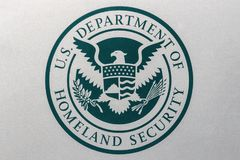 Indianapolis - Circa August 2018: Logo and seal of the United States Department of Homeland Security. DHS runs ICE I. Logo and seal of the United States stock image