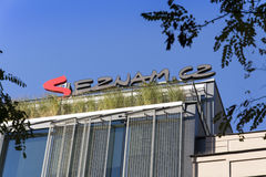 Logo of search engine and web portal Seznam.cz on the headquarters building Stock Images
