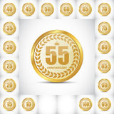 Logo Set Anniversary Vector Illustrati Royalty-vrije Stock Afbeelding