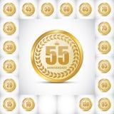 Logo Set Anniversary Vetora Illustrati Imagem de Stock Royalty Free