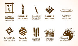 Logo set for art studio. Signs for art studio. Various symbols of art industry with creative touch Stock Photos