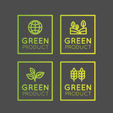 Logo Set Badge Fresh Organic, Eco Product, Bio Ingredient Label Badge with Leaf, Earth, Green Concept Gradient Colour Stock Photography
