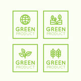Logo Set Badge Fresh Organic, Eco Product, Bio Ingredient Label Badge with Leaf, Earth Stock Image