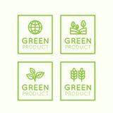 Logo Set Badge Fresh Organic, prodotto di Eco, bio- distintivo dell'etichetta dell'ingrediente con la foglia, terra Immagine Stock
