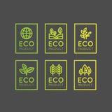 Logo Set Badge Fresh Organic, prodotto di Eco, bio- distintivo dell'etichetta dell'ingrediente con la foglia, terra Immagini Stock