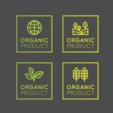 Logo Set Badge Fresh Organic, prodotto di Eco, bio- distintivo dell'etichetta dell'ingrediente con la foglia, terra Immagini Stock Libere da Diritti