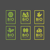 Logo Set Badge Fresh Organic, produit d'Eco, bio insigne de label d'ingrédient avec la feuille, la terre Image libre de droits