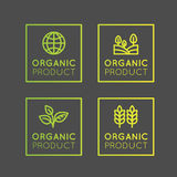 Logo Set Badge Fresh Organic, produit d'Eco, bio insigne de label d'ingrédient avec la feuille, la terre Images libres de droits