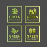 Logo Set Badge Fresh Organic, produit d'Eco, bio insigne de label d'ingrédient avec la feuille, la terre, couleur verte de gradie Photographie stock