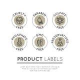 Logo Set Badge Ingredient Warning Label Icons. GMO, SLS, Paraben, Cruelty, Sulfate, Sodium, Phosphate, Silicone Stock Images