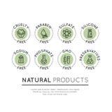 Logo Set Badge Ingredient Warning Label Icons. Isolated Vector Style Illustration Logo Set Badge Ingredient Warning Label Icons. GMO, SLS, Paraben, Cruelty Stock Images