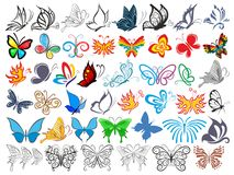 Logo Set with butterflies. Set of stylized logo with butterflies Royalty Free Stock Photography