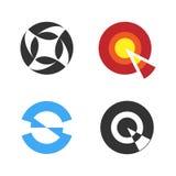 Logo Set circolare Logotype negativo di stile dello spazio Vettore Immagine Stock