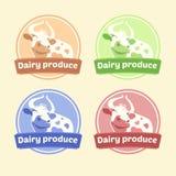 Logo Set de las etiquetas para los productos lácteos editable Imagen de archivo