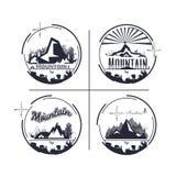 Logo Set de montagne et de camping aventure extérieure monochrome d Illustration de Vecteur