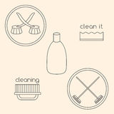 Logo set of household cleaning objects Stock Image