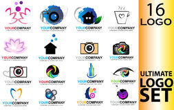 Logo set icons. Illustration with 16 logos on white background royalty free illustration