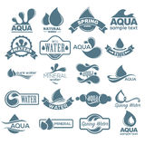 Logo set. Label for mineral water. Aqua icons collection. Vector Stock Images