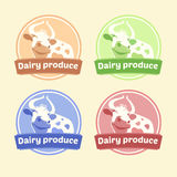 Logo Set of labels for dairy products. Editable. Labels for packages. Dairy products. Yogurt, kefir, milk, fermented baked milk Stock Image