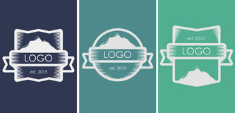 Logo. Set of lined logos, icons with mountains Stock Photos