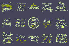 Logo set for local produce business. Buy local, Eco Farm, Natural, Local Farm, Organic, Bio, Locally grown, Shop local, Vegan, Fruits and Vegetables. Big Set of Stock Photography