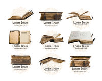 Logo set with medieval old books for your design Royalty Free Stock Photo