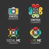 Logo Set moderno Modello Web di simbolo di media di Technology Communication Business Company Logo Vector Elements Pack Progettaz Fotografia Stock Libera da Diritti