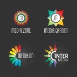 Logo Set moderno Riuscito modello Web di simbolo di Media Technology Business Company Logo Vector Elements Pack Progettazione del Fotografia Stock