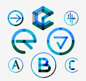 Logo set, thin line clean style Stock Image