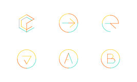 Logo set, thin line clean style Royalty Free Stock Image