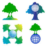 Logo set tree and globe Royalty Free Stock Image