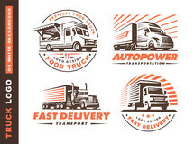 Logo set with truck and trailer. Set of four logo with truck and trailer on white background vector illustration