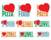 Logo Set Vectors inscriptions J'aime la nourriture photographie stock