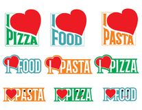 Logo Set Vectors iscrizioni Amo l'alimento Fotografia Stock