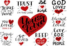 Free Logo Set With Bible Verse And Christian Quotes You So Loved, Trust In The Lord, Be Kind, Jesus In My Heart Royalty Free Stock Images - 178451379
