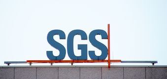 Logo of SGS as the world leading inspection, verification, testing and certification company on their local office in Voorburg the. Netherlands royalty free stock images