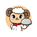 Logo sheep chef cute smile royalty free illustration