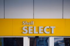 Logo of Shell oil company on gas station. 02.04.2019. RIGA, LATVIA. Logo of Shell oil company on gas station. Shell is United States-based wholly owned stock photo