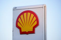 Logo of Shell oil company on gas station. 02.04.2019. RIGA, LATVIA. Logo of Shell oil company on gas station. Shell is United States-based wholly owned royalty free stock photo