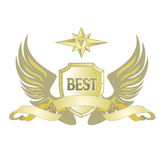 Logo with shields, wings and ribbon on a white background. Vector illustration EPS10 Stock Photography