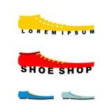 Logo shoes. Long boots. Emblem for shoe store or shoe production Stock Photo