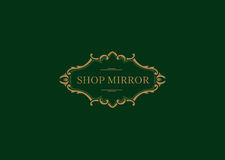 Logo for the shop mirrors, floral frame Royalty Free Stock Photography
