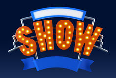 Logo Show - tekstmalplaatje toon - Uitstekend markttentlicht toont teken, typografie Royalty-vrije Stock Foto's