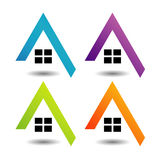 Logo showing growing real estate market. In different colors Stock Photos