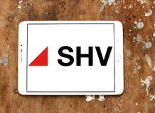 SHV Holdings logo. Logo of SHV Holdings on samsung tablet. SHV Holdings is a privately owned Dutch trading company, regarded as one of the world`s largest Royalty Free Stock Photography