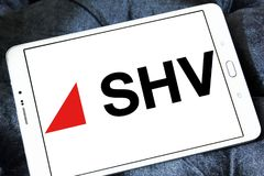 SHV Holdings logo. Logo of SHV Holdings on samsung tablet. SHV Holdings is a privately owned Dutch trading company, regarded as one of the world`s largest Royalty Free Stock Images