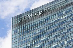 Logo or sign for JP Morgan in Canary Wharf Stock Images