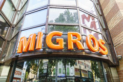Logo sign of Migros food store Royalty Free Stock Photography